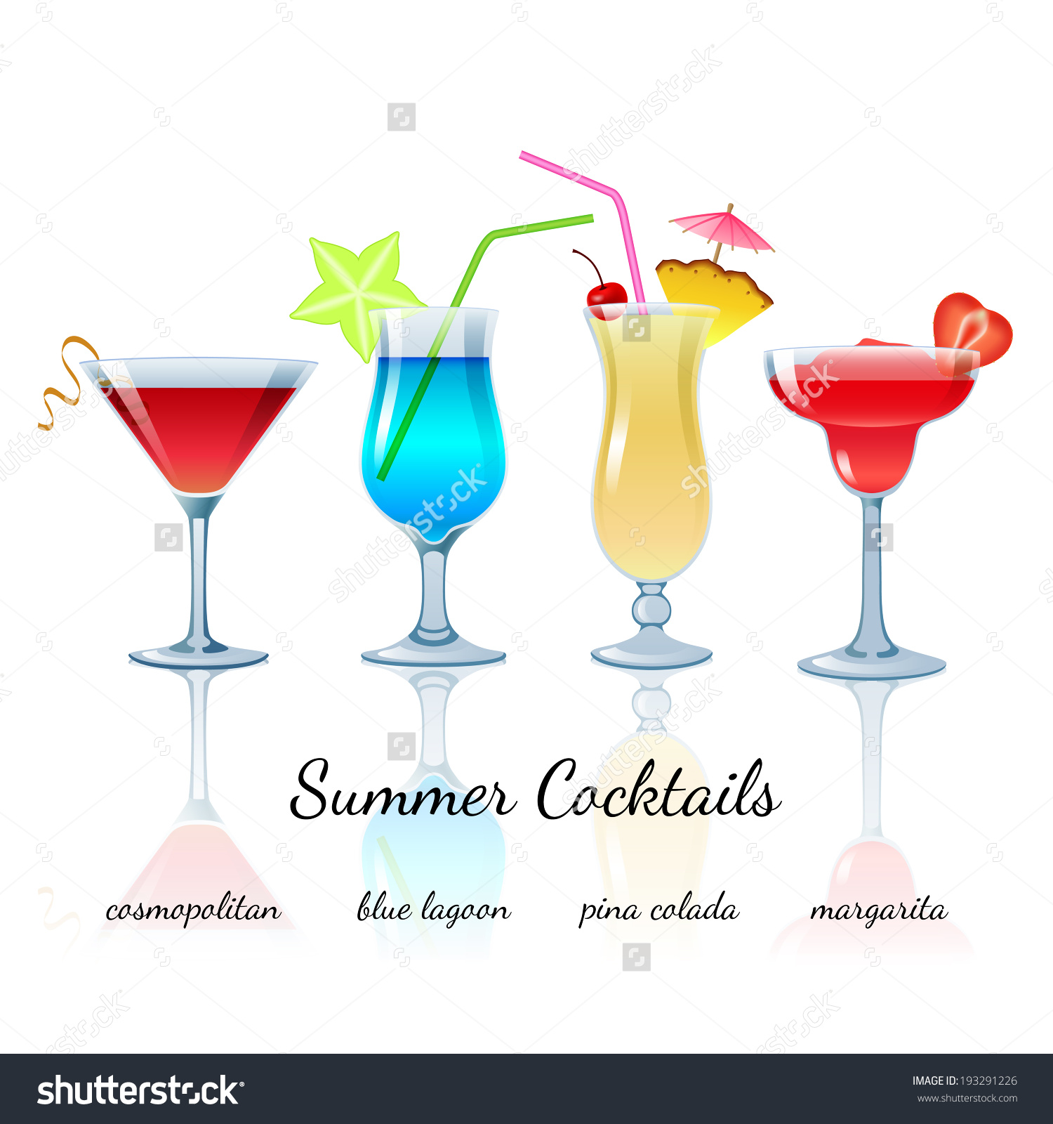 Summer Cocktails Set Isolated Cosmopolitan Blue Stock Vector.