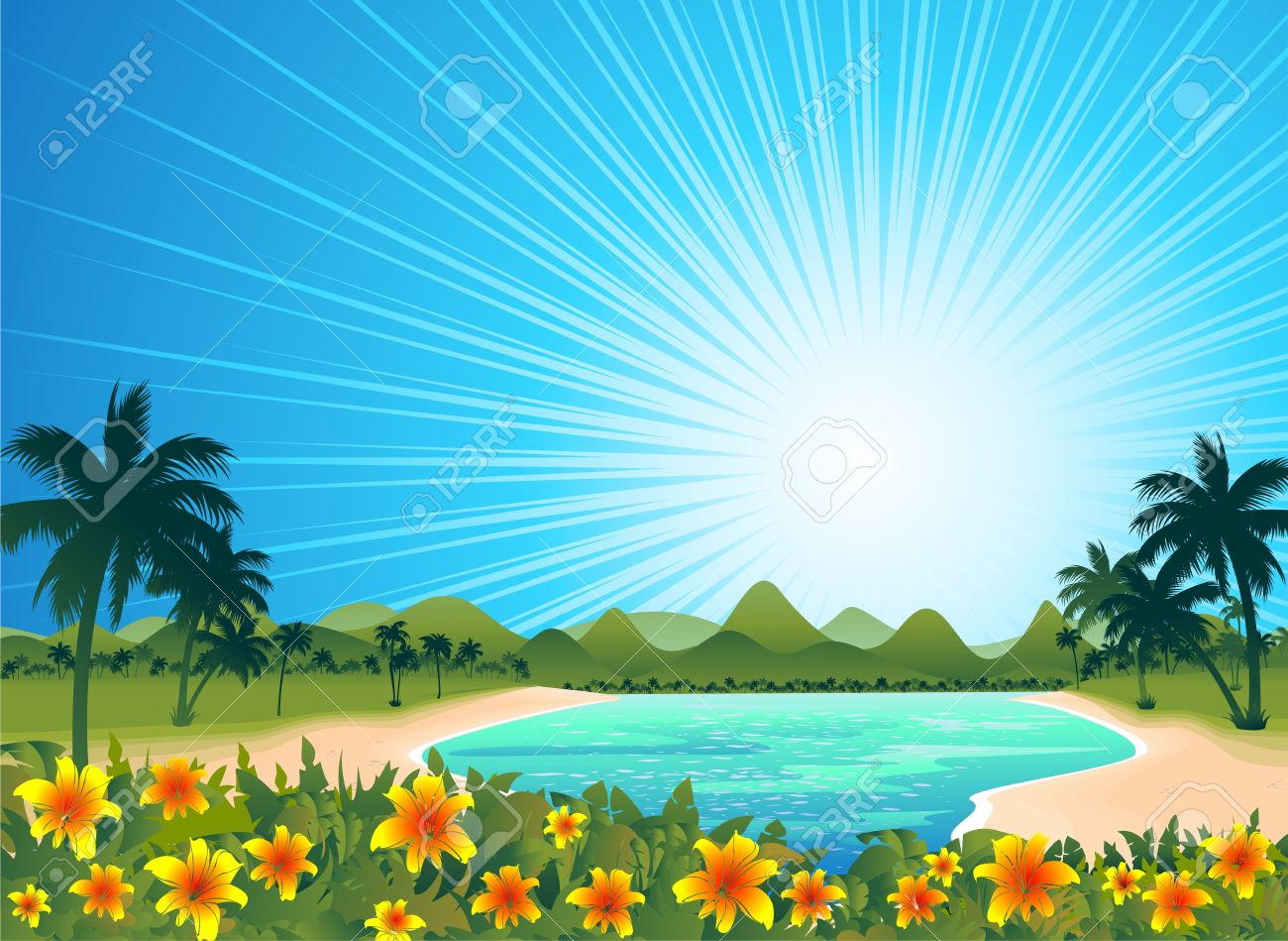 Exotic Tropical Blue Lagoon Royalty Free Cliparts, Vectors, And.