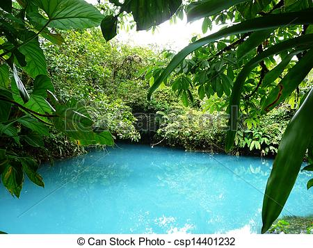 Stock Photos of Incredible blue lagoon in Costa Rica csp14401232.