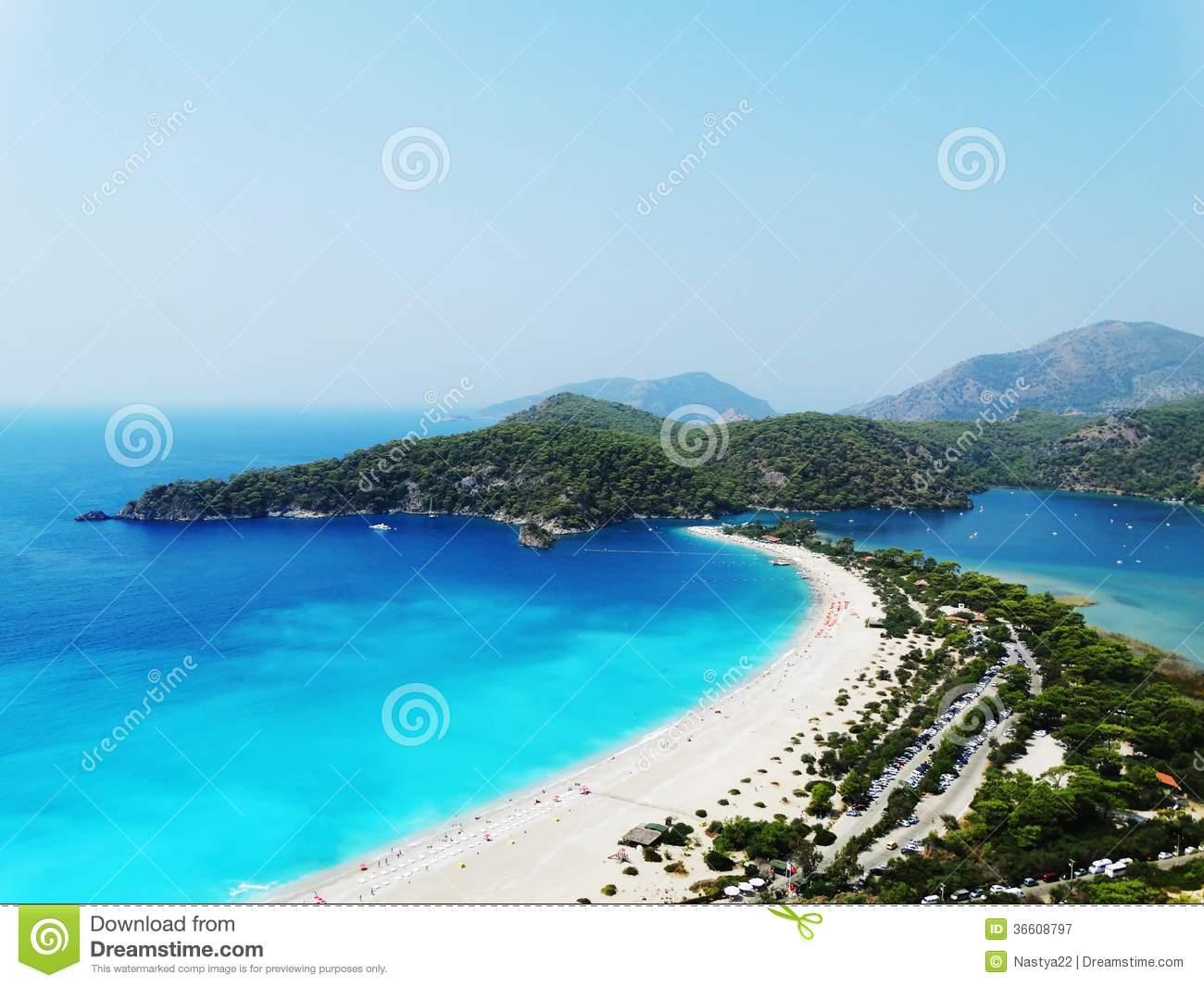 Panorama Of Blue Lagoon And Beach Oludeniz Turkey Royalty Free.
