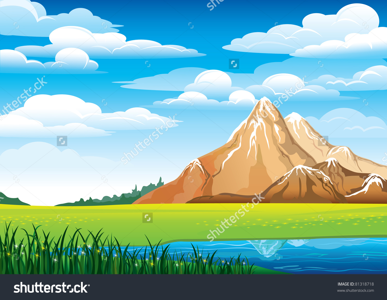 Green Landscape Meadow Blue Lake Mountains Stock Vector 81318718.