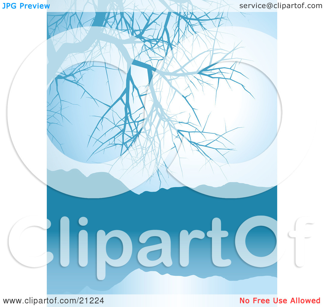 Clipart Illustration of a Blue Lake Scene With A Bare Tree And.