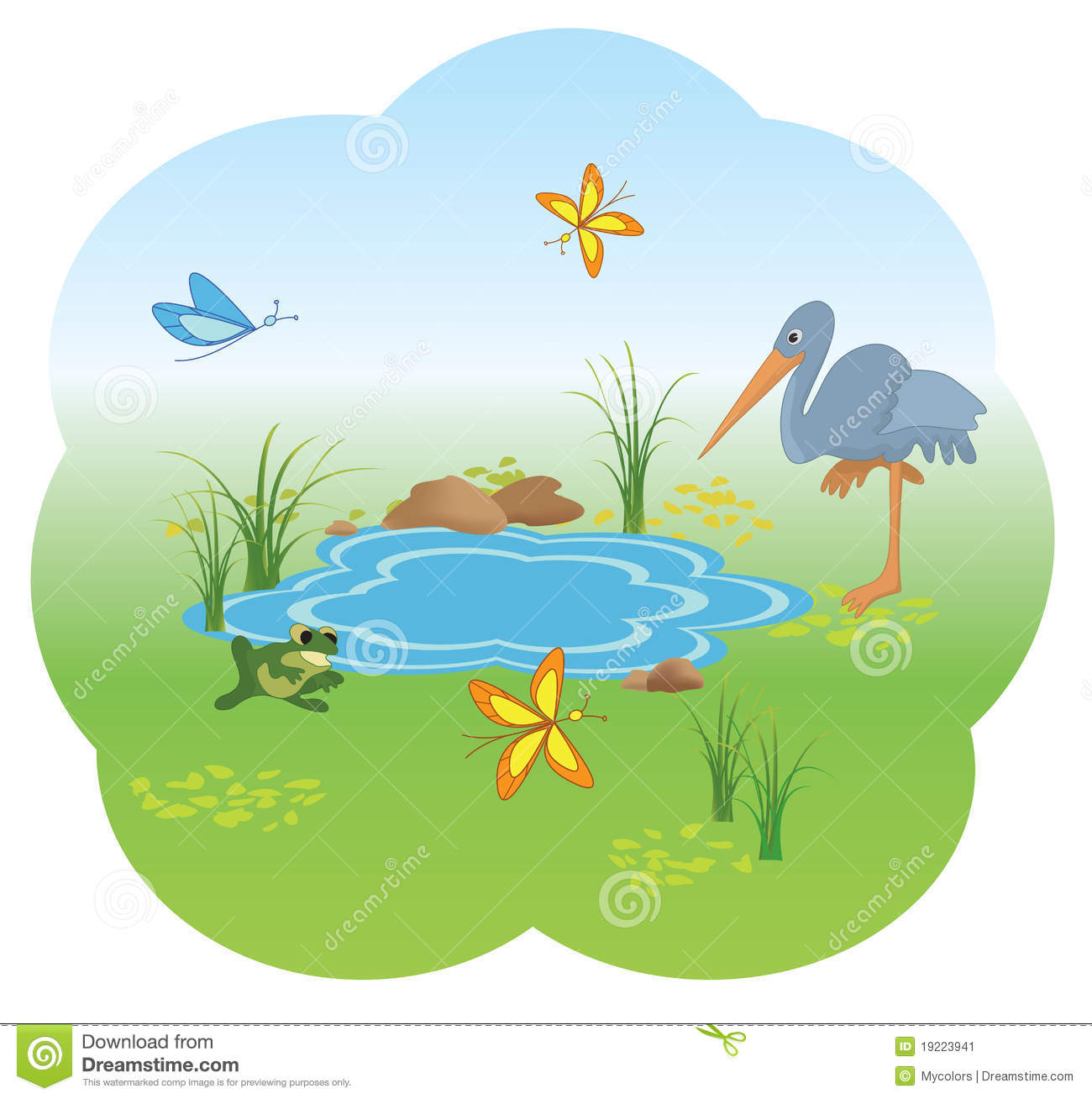 Illustration Of Nature With Blue Lake.
