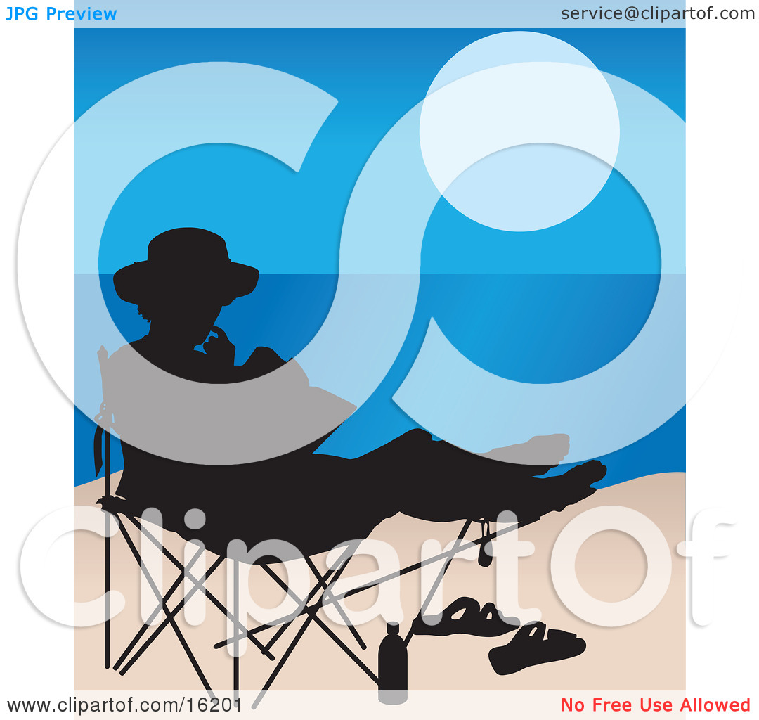 Woman Seated In A Chair On The Beach, Silhouetted With Her Sandals.