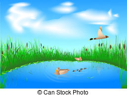 Vector Clip Art of Misty Morning on Lake with Pink Grass.