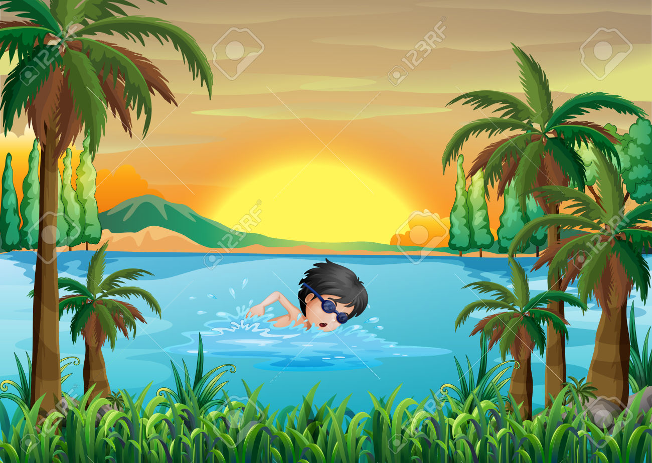 Illustration Of A Boy Swimming At The Lake Royalty Free Cliparts.