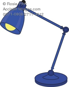 Clipart Image of a Blue Adjustable Neck Lamp.