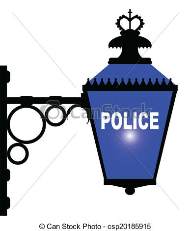 Vector Clip Art of Police Station Blue Light.
