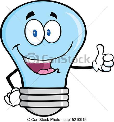Vector Clip Art of Blue Light Bulb Giving A Thumb Up.