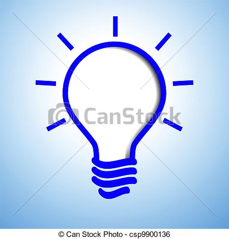Clip Art Vector of Blue light bulb abstract background csp9900136.