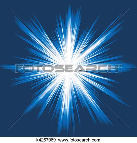 Clip Art of Blue light, star burst, abstract le k4257069.