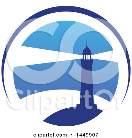 Clipart Graphic of a Blue Lighthouse Design.
