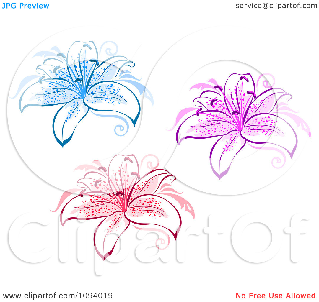 Clipart Blue Pink And Red Lily Flowers.