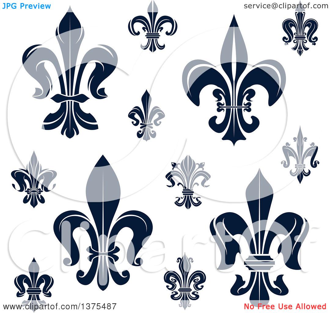 Clipart of Navy Blue Lily Fleur De Lis Designs.
