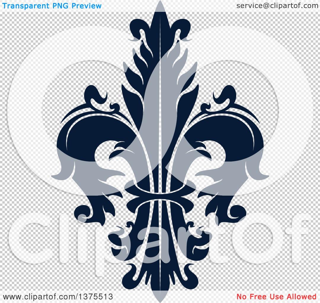 Clipart of a Navy Blue Lily Fleur De Lis.