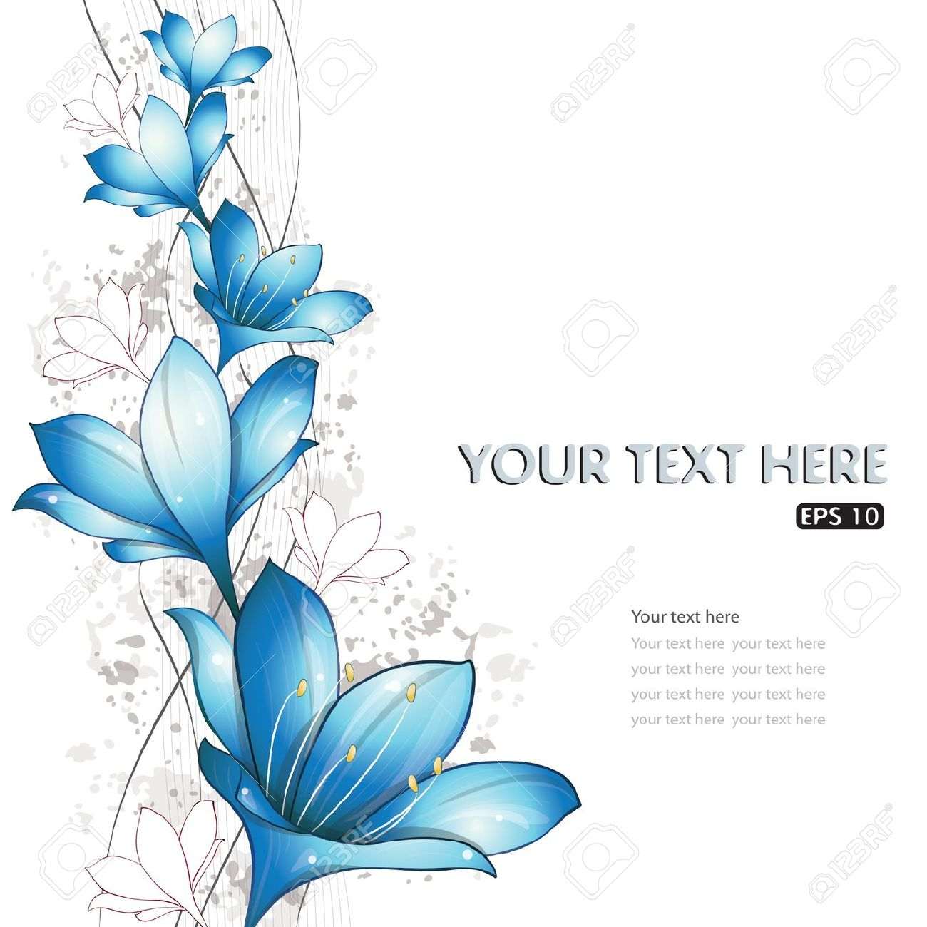Blue Lilies Design, Vector Illustration, Eps.