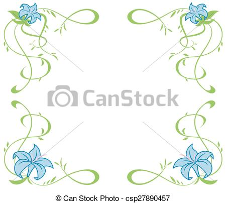 Clipart Vector of Frame with beautiful blue lily flowers.