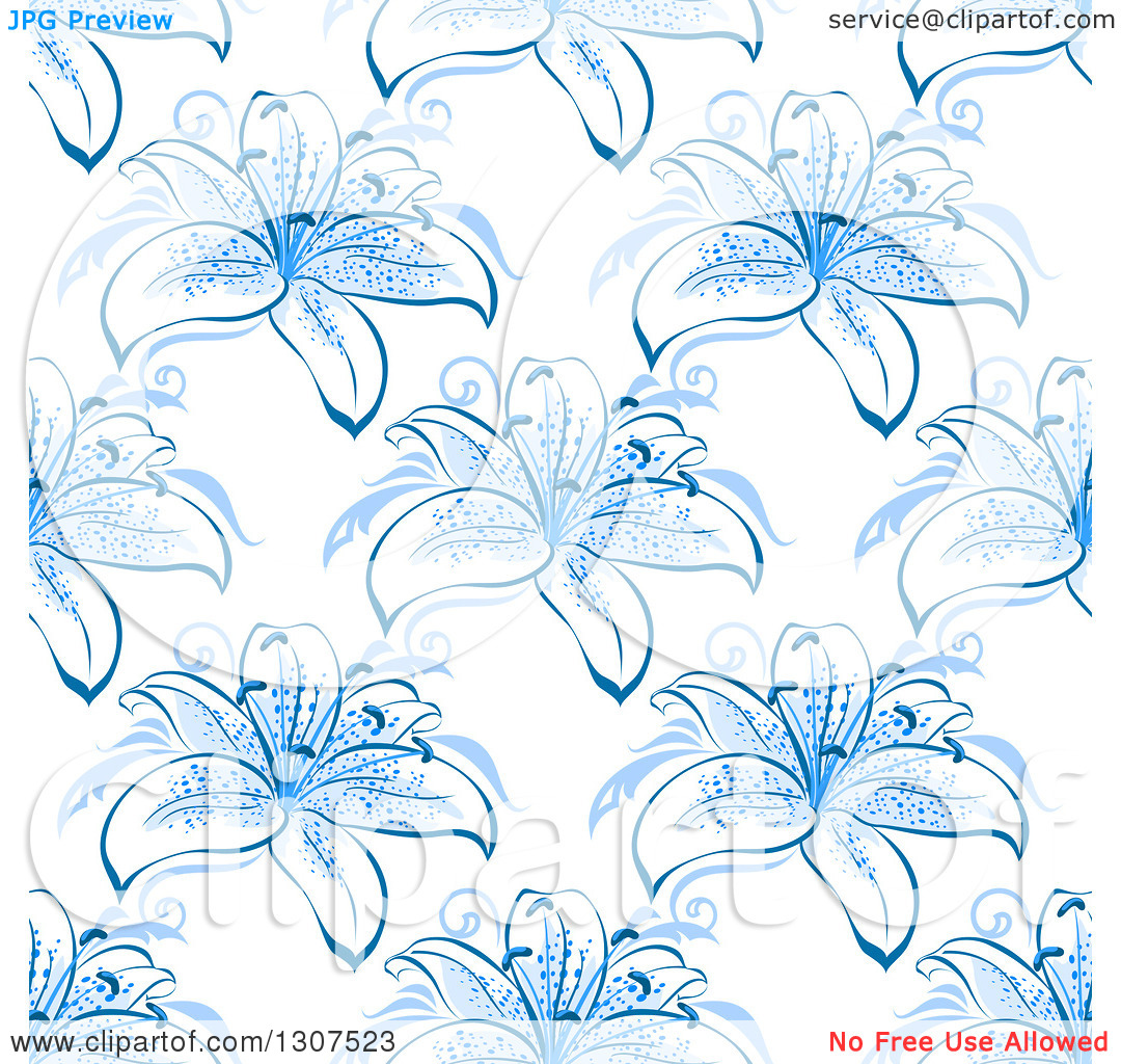 Clipart of a Seamless Background Pattern of Blue Lily Flowers.