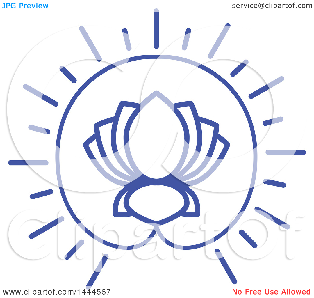 Clipart of a Blue Lotus Flower Design.