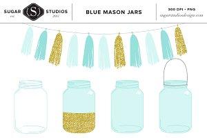 Blue Mason Jars with Tassel Clip Art.