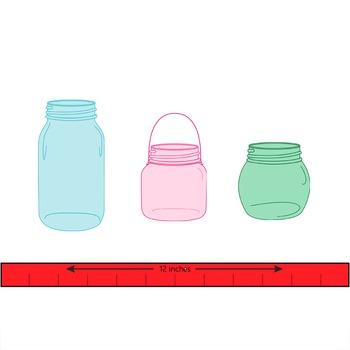 mason jar clip art in hoiday colors.