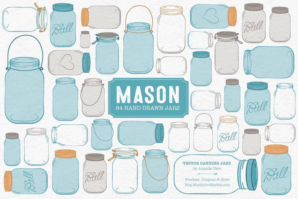 Vector Mason Jars Clipart in Vintage Blue By Amanda Ilkov.