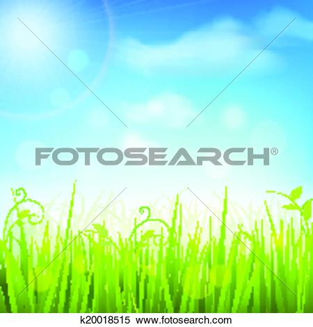 Clipart of Spring meadow grass blue sky poster k20018515.