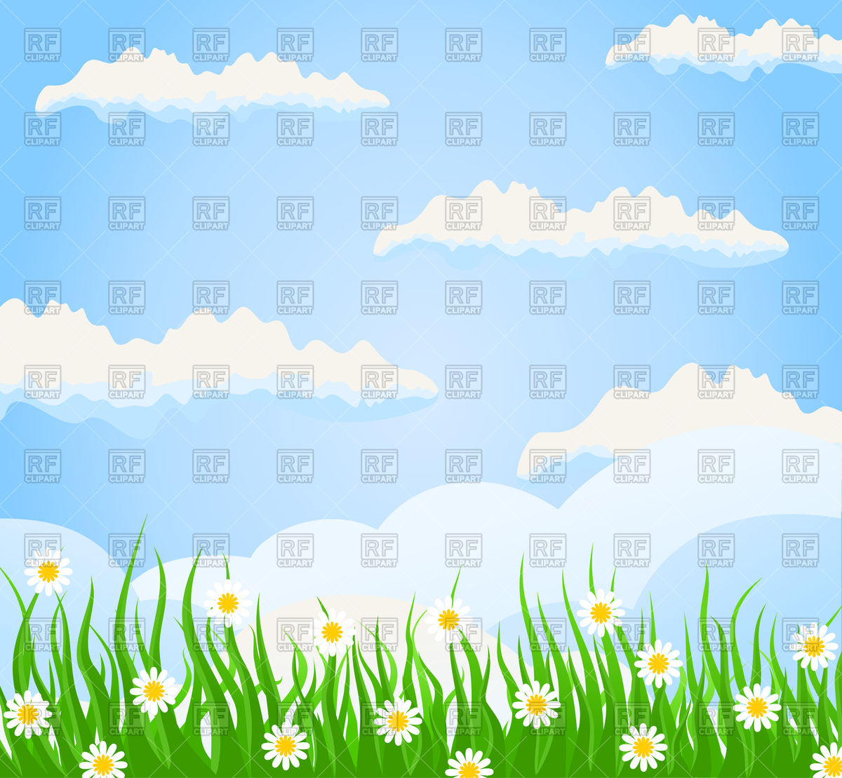 Meadow and blue sky Vector Image #82228.
