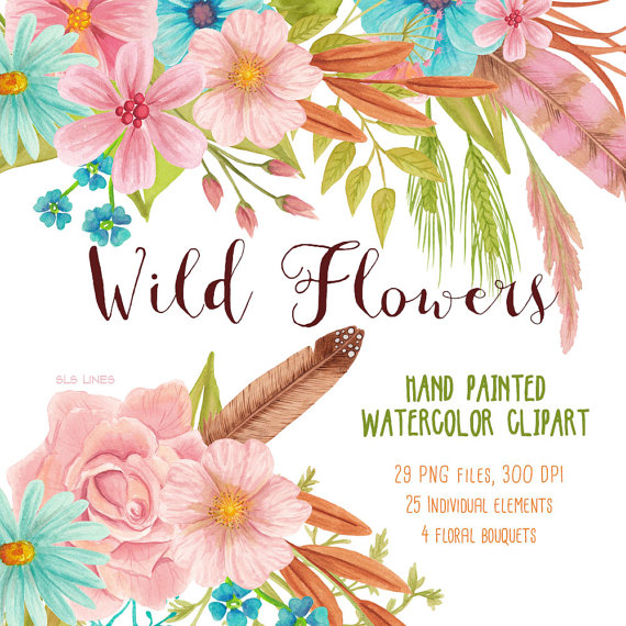 Wild Flower watercolor clipart pink and blue meadow flowers.