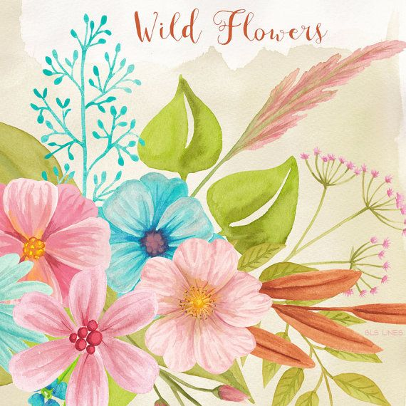 Wild Flower watercolor clipart, pink and blue meadow flowers.