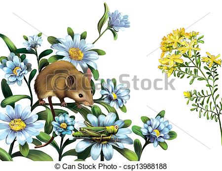 Stock Illustration of Mouse, grasshoper blue meadow flowers.