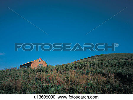 Stock Photography of Blue, Meadow, Hut, Growth, Hill u13695090.