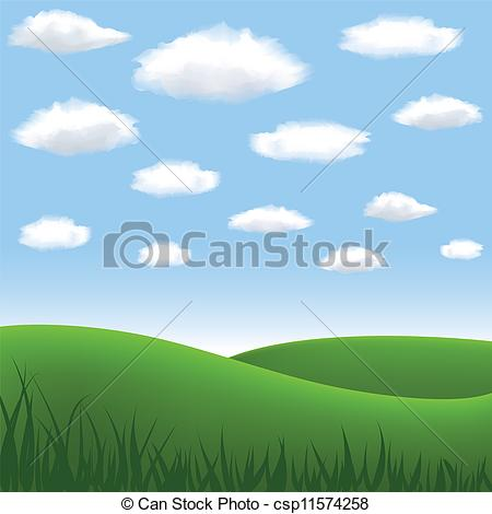 Clipart Vector of meadow and hills.