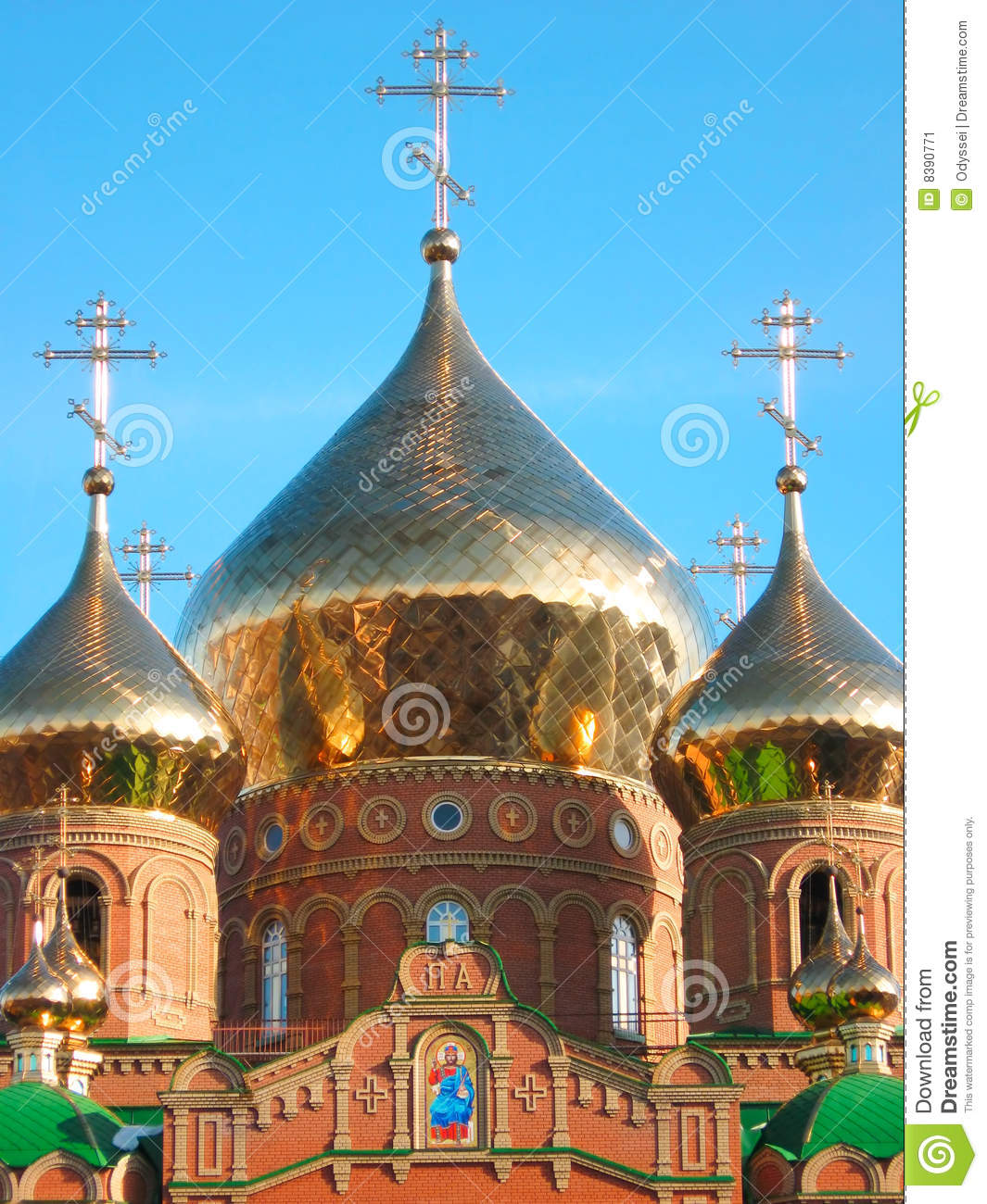 Shining Golden Onion Dome Of St.Vladimir Cathedral Stock Image.