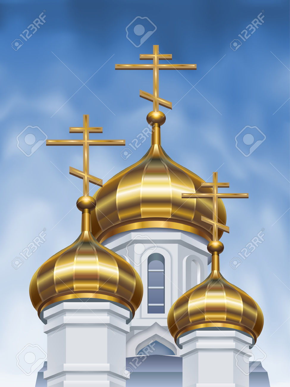 Russian Orthodox Church Cupolas Royalty Free Cliparts, Vectors.