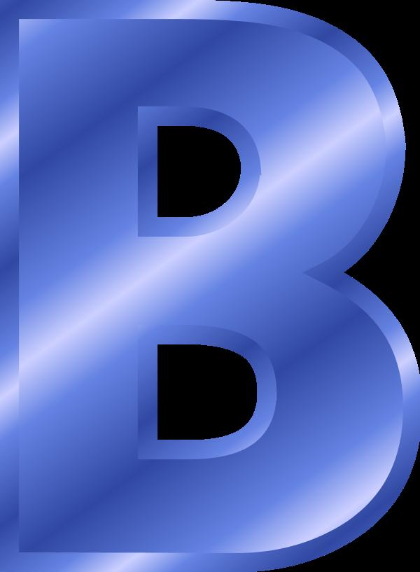 Blue Metallic Letter B Clipart.