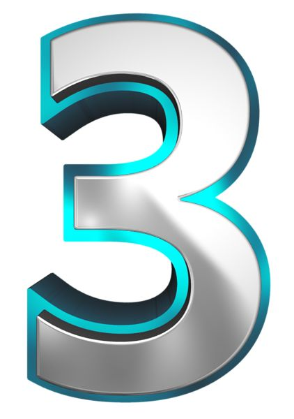 Metallic and Blue Number Three PNG Clipart Image.