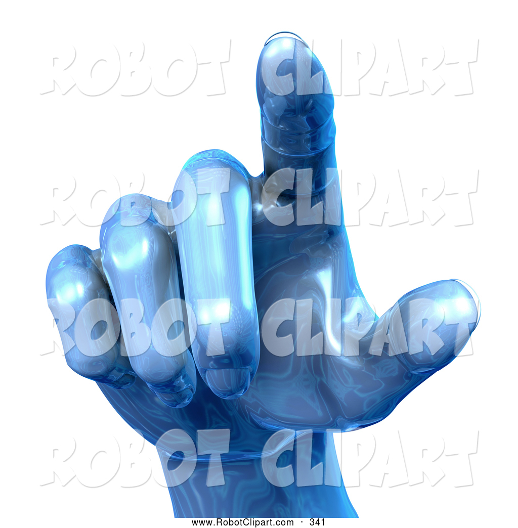 Clipart of a Blue Metallic Human Hand Pointing Outward by Tonis.