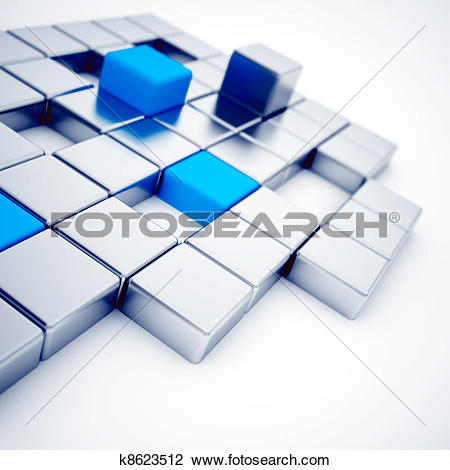 Clip Art of Abstract silver and blue metallic cubes on a white.