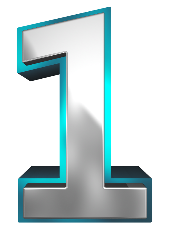 Metallic and Blue Number One PNG Clipart Image.