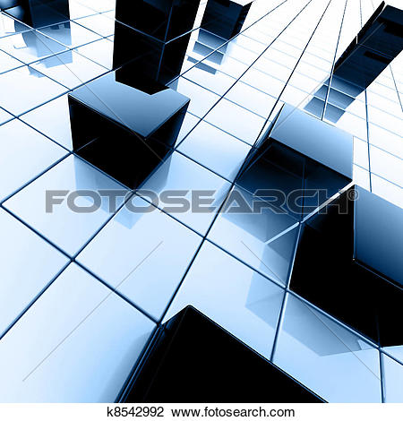 Clip Art of Abstract dark blue metallic cubes on a white k8542992.