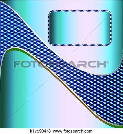 Clip Art of illustration blue metallic technical background for.