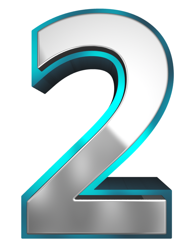 Metallic and Blue Number Two PNG Clipart Image.