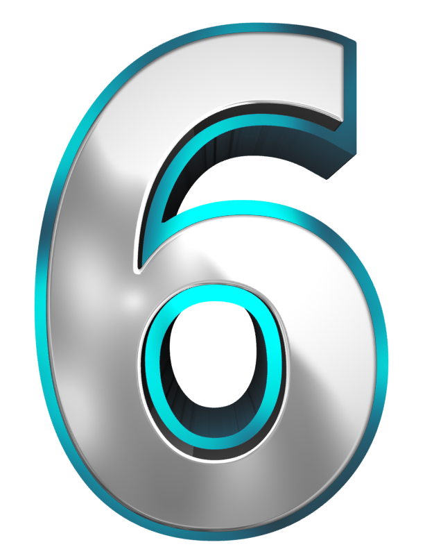 Metallic and Blue Number Six PNG Clipart Image.