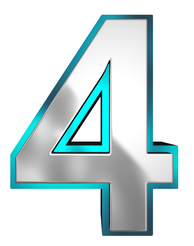 Metallic and Blue Number Four PNG Clipart Image.