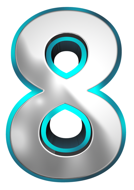Metallic and Blue Number Eight PNG Clipart Image.