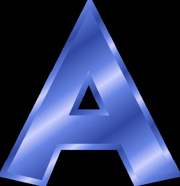 Blue Metallic Letter A Clipart.