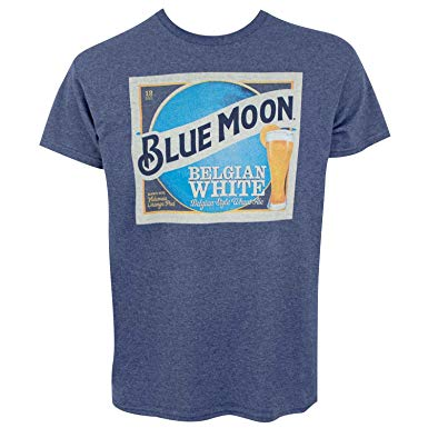 Blue Moon Belgian White Beer Label Men\'s Blue T.