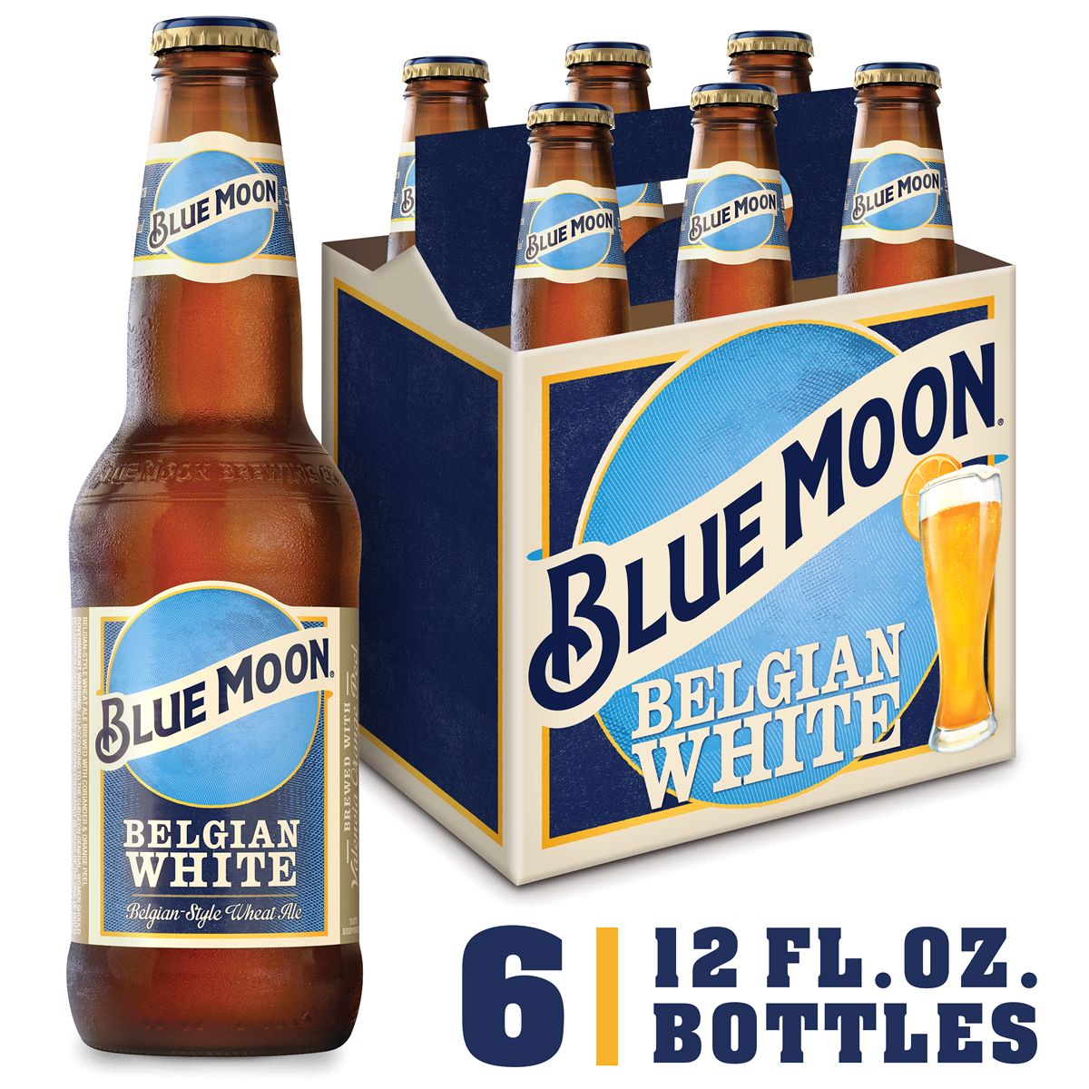 Blue Moon Belgian White Belgian Style Wheat Ale Beer, 6 Pack, 12 fl.