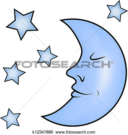 Clip Art of Blue moon and stars k12347886.